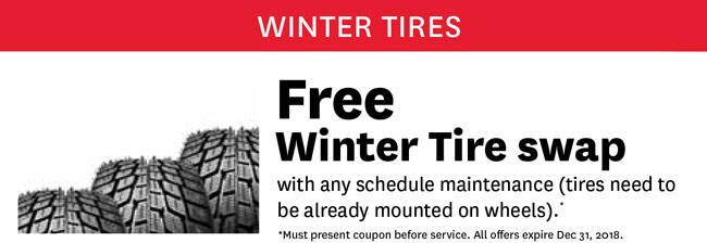 Free Winter Tires Swap with scheduled maintenance