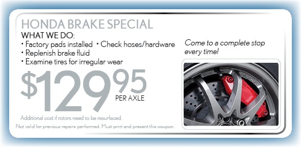 Brake Service Coupon, Arlington, TX Honda Service Special. If no image displays, this offer has ended.