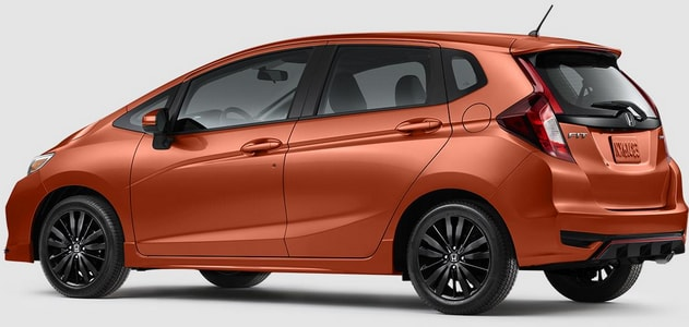Orange Honda Fit side profile