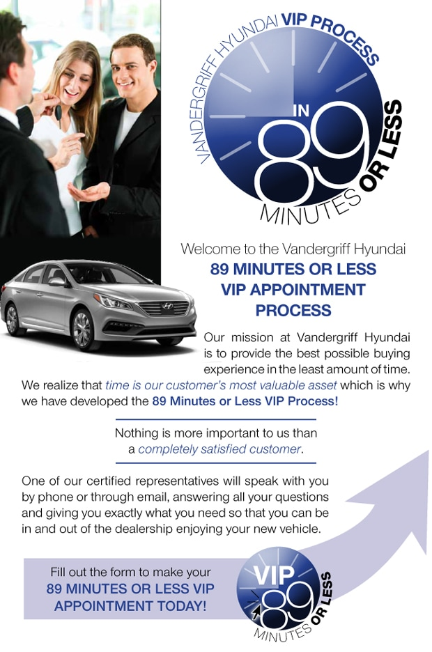 Make an Appointment for the 89 Minute VIP Hyundai Purchase at Vandergriff Hyundai!