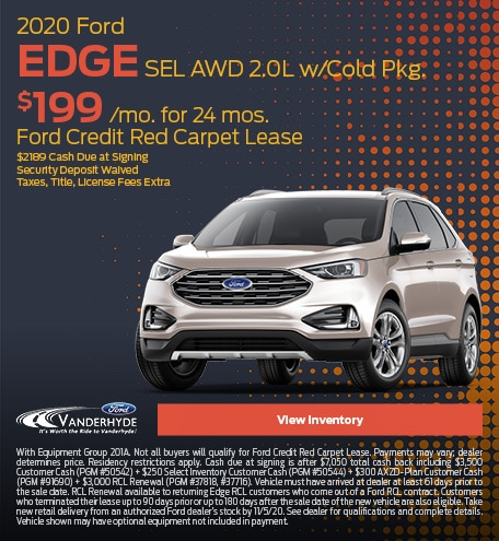 October 2020 Ford Edge SEL AWD 2.0L w/Cold Pkg.