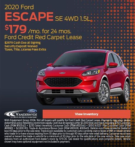 October 2020 Ford Escape SE 4WD 1.5L