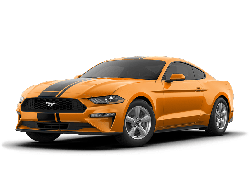 An orange 2019 Ford Mustang EcoBoost