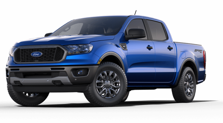 A blue 2019 Ford Ranger SuperCrew XLT