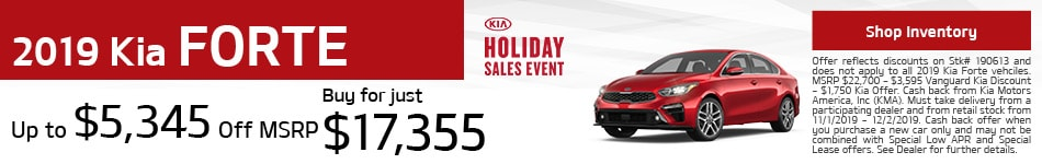 November 2019 Kia Forte Cash Offer