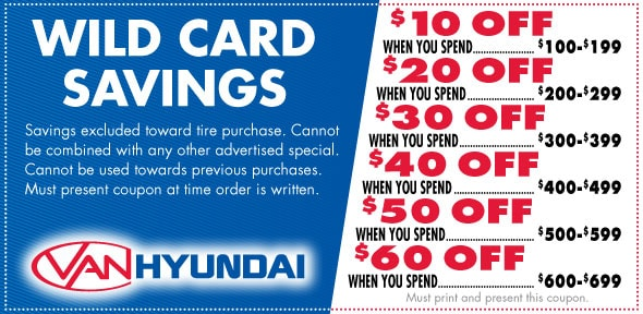 Wild Card Savings Service Coupon, Carrollton, TX Hyundai Service Special. If no image displays, this offer has ended.