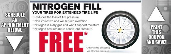 Nitrogen Tire Fill Van Hyundai Service Coupon Dallas Tx