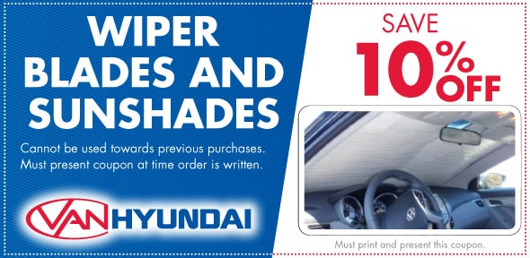 Wiper Blades & Sun Shades Service Coupon, Carrollton, TX HyundaiService Special. If no image displays, this offer has ended.