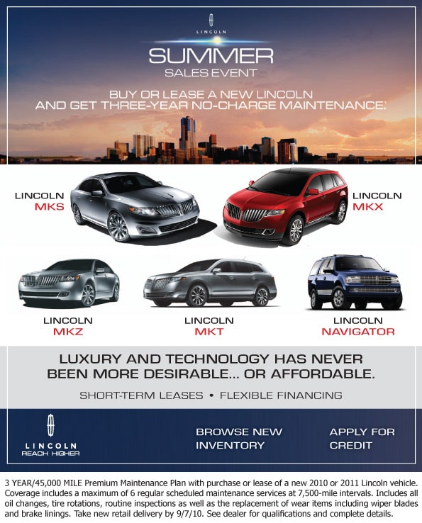 Lincoln Lease Offers: New Lincoln Car SUV Summer Sales Event At Joe Myers Ford