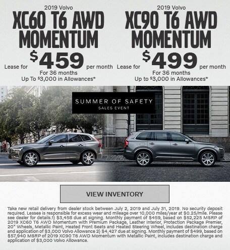 New 2019 Volvo XC60 T6 AWD Momentum & 2019 Volvo XC90 T6 AWD Momentum