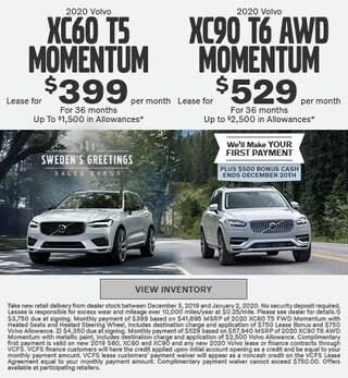 New 2020 Volvo XC60 T5 Momentum & 2020 Volvo XC90 T6 AWD Momentum
