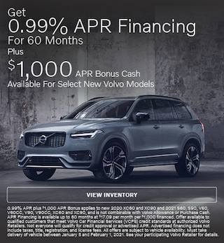 Get 0.99% APR Financing for 60 Months On Select New Volvo Models