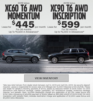 2019 Volvo XC60 T6 AWD Momentum & 2019 XC90 T6 AWD Inscription