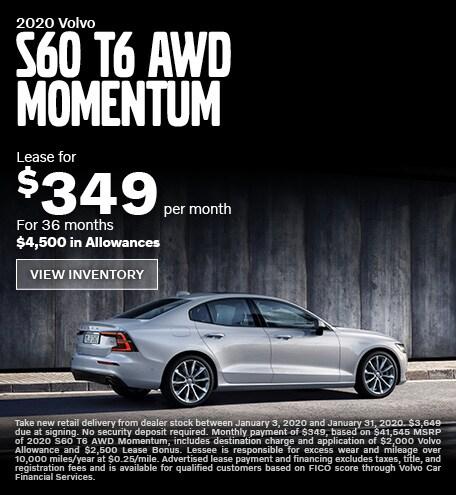 New 2020 Volvo S60 T6 AWD Momentum