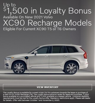 Up To $1,500 Loyalty Bonus Available On New 2021 Volvo XC90 Recharge Models
