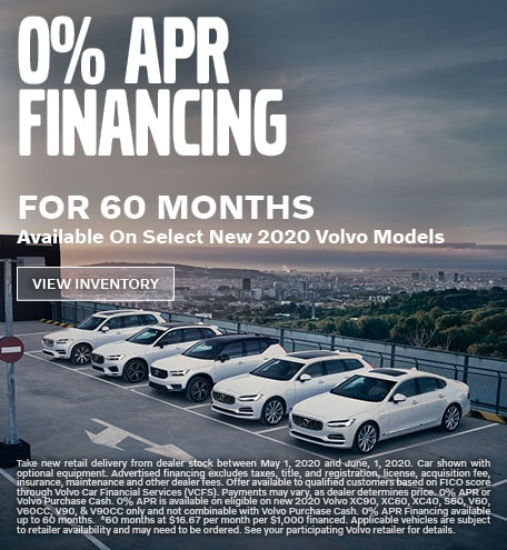 0% APR Financing for 60 Months Available On Select New 2020 Volvo Models
