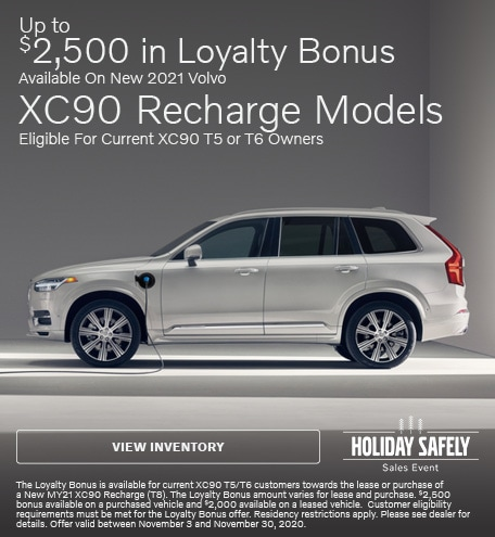 Up To $2,500 Loyalty Bonus Available On New 2021 Volvo XC90 Recharge Models