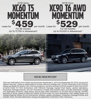 New 2019 Volvo XC60 T5 Momentum & 2019 Volvo XC90 T6 AWD Momentum