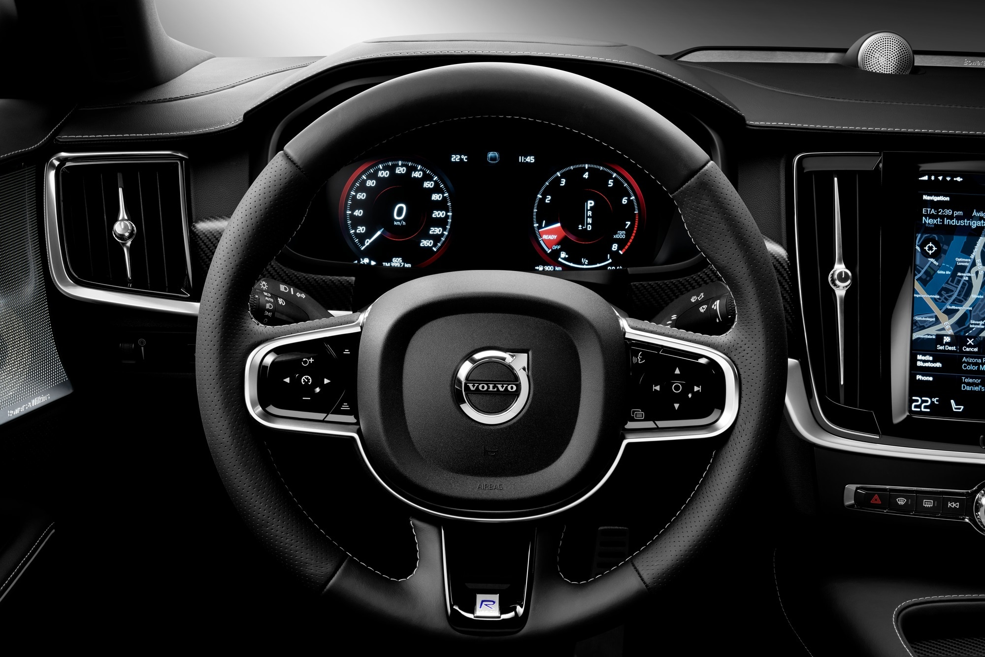 black interior of new volvo car