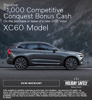Receive $1,000 Conquest Bonus Cash on Select New 2021 XC60 Models