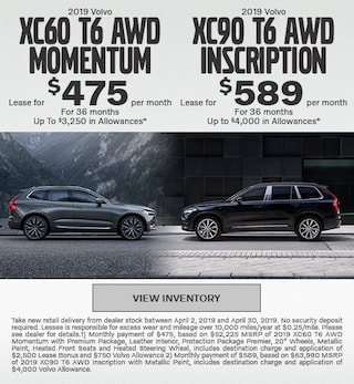 2019 Volvo XC60 T6 AWD Momentum & 2019 XC90 T6 AWD Inscription