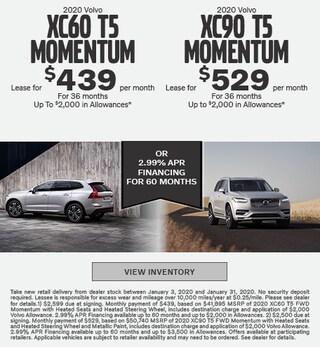 New 2020 Volvo XC60 T5 Momentum & Volvo XC90 T5 Momentum