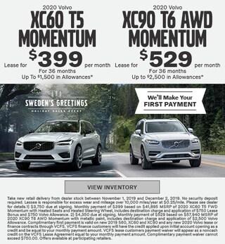 New 2020 Volvo XC60 T5 Momentum & Volvo XC90 T6 Momentum