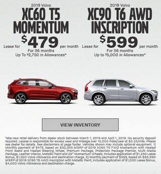 2019 Volvo XC60 T5 Momentum & 2019 Volvo XC90 T6 AWD Inscription