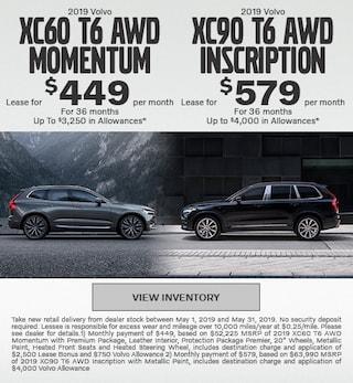 New 2019 XC60 T6 AWD Momentum & New 2019 Volvo XC90 T6 AWD Inscription
