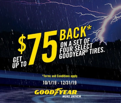 Get a $75 Goodyear Prepaid Mastercard with Purchase of 4 Goodyear Tires
