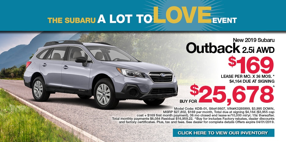 New 2019 Subaru OUTBACK 2.5i AWD