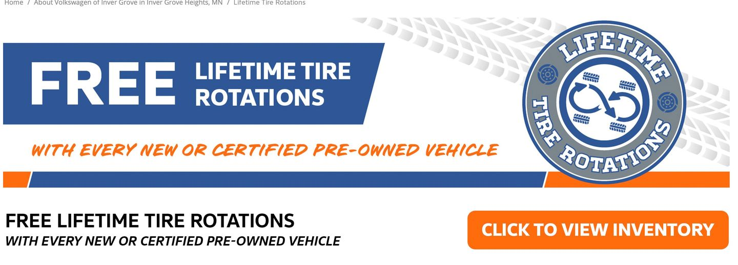 Free Tire Rotations at Volkswagen of Inver Grove