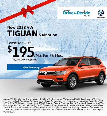 2018 VW Tiguan S 4Motion