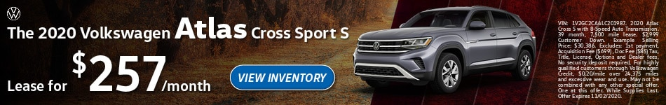 The 2020 Volkswagen Atlas Cross Sport S