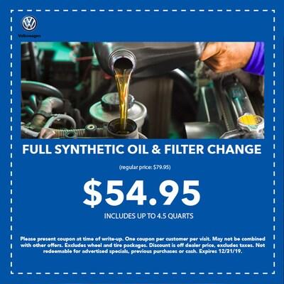 Full Synthetic Oil & Filter Change