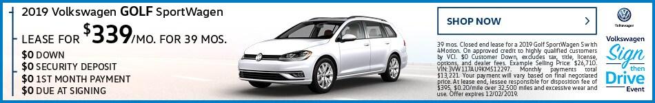 2019 Volkswagen Golf SportWagen November Offer