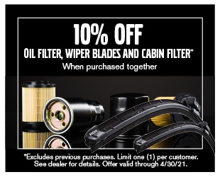 March Oil Filter, Wiper Blades, Cabin Filter Coupon