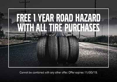 FREE 1 Year Road Hazard With All Tire Purchases