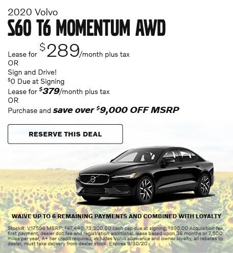 2020 Volvo S60 T6 Momentum AWD