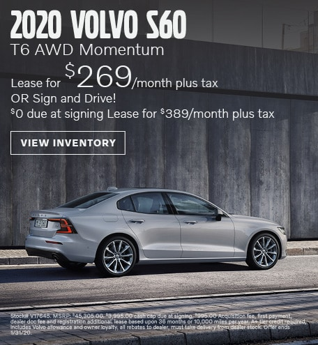 January 2020 Volvo S60 T6 AWD Momentum Lease