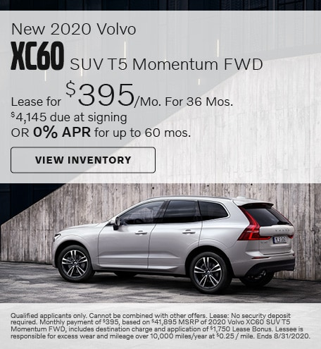 August New 2020 Volvo XC60 SUV T5 Momentum FWD Offers