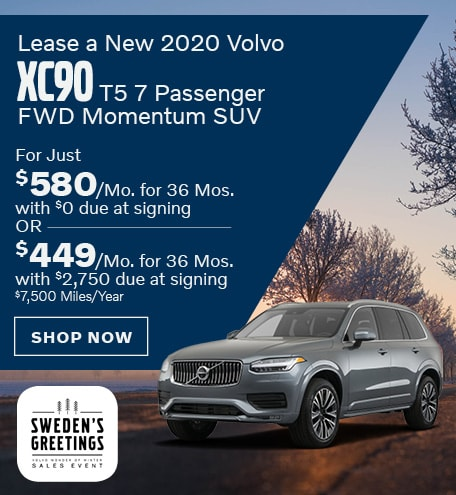 Lease a New 2020 Volvo XC90 T5 7 Passenger FWD Momentum SUV