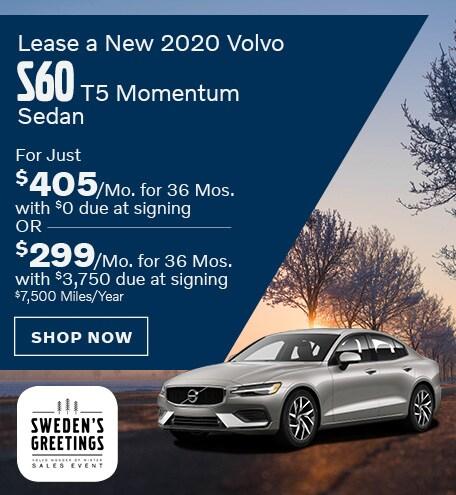 Lease a New 2020 Volvo S60 T5 Momentum Sedan