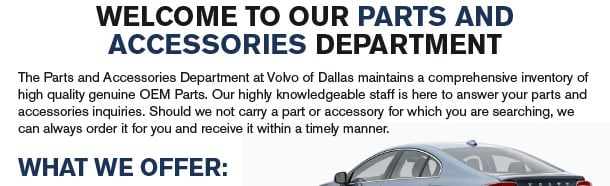Welcome to Volvo Parts and Accessories