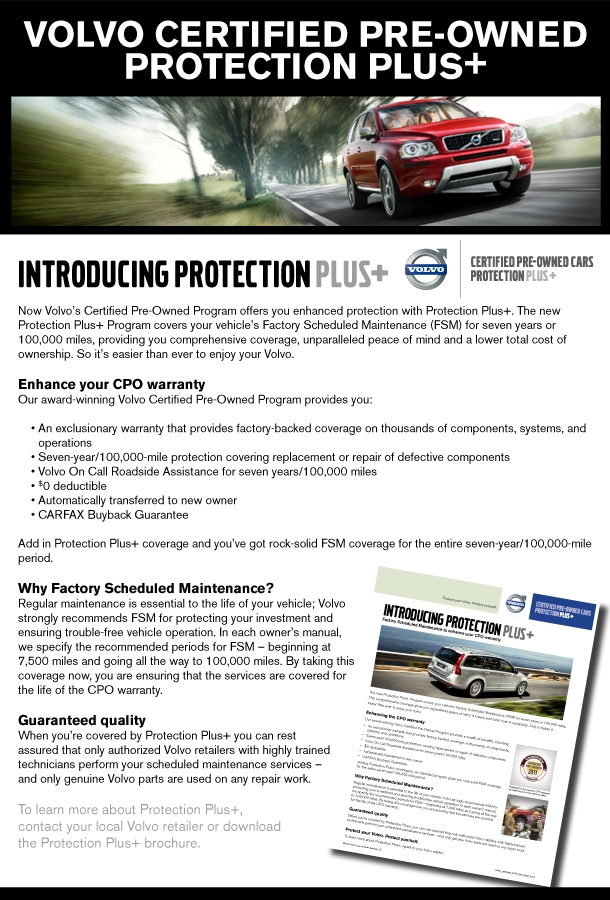 Volvo Certified Pre Owned >> Cpo Protection Plus For Volvo Certified Vehicles Comprehensive