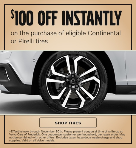 $100 OFF INSTANTLY on the purchase of eligible Continental or Pirelli tires