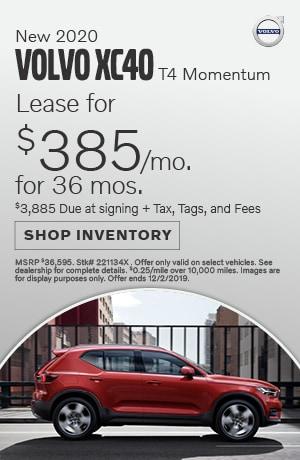 November New 2020 Volvo XC40 T4 Momentum Lease Offer