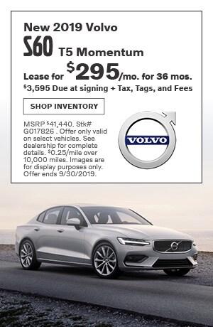 September New 2019 Volvo S60 T5 Momentum Lease Offer