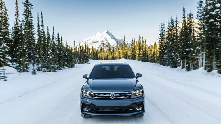 2019 VW Tiguan Driving Through Snowy Mountains
