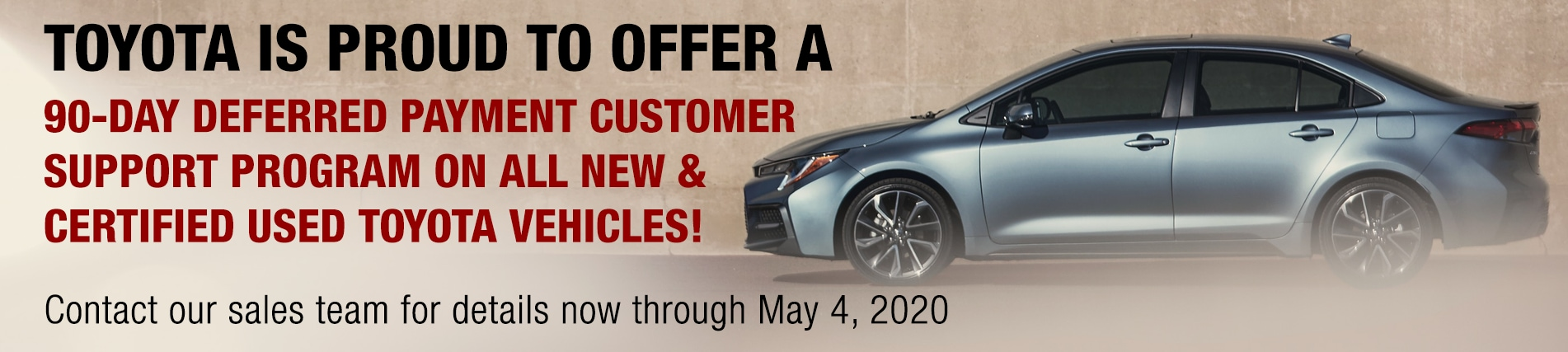 Toyota 90 Day Deferred Payment Customer Support Program